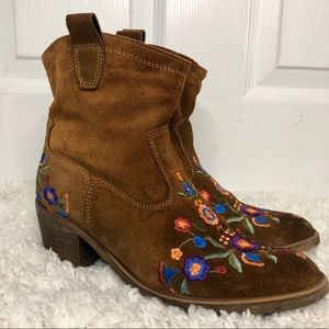 Brown Suede Western Booties Floral Embroidery